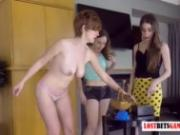 3 Gorgeous Women Play a Game of Balance, First One without Their Clothes