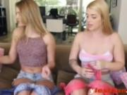 Kenna and Jenna licking shaved cunts on couch