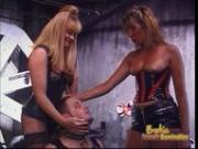 Two slutty blonde dominos have some naughty fun with a horny dude