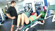 busty babe Melissa riding her fitness trainers cock at the gym