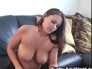 Busty Leslie masturbates her pussy with toy after interview