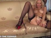 Sam is so horny in her nylons and heels