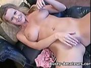 Busty Lisa Neils fingering her shaved pussy