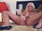 Busty Blonde Drills Her Pussy with Big Dildo