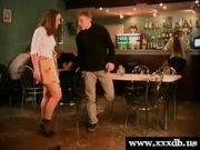 Hot schoolgirl gets fucked in a bar