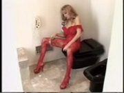 horny mature in red bodystocking playing and getting banged