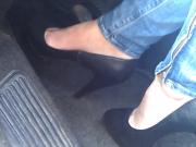 Watch This Gal With Black Heels and Jeans As She Plays With The Pedals