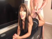 Stallion grabs her ankles and humps her soles