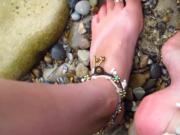Girl With Cute Ankle Bracelets and Toe Rings Shows Off Her Luscious Bare Feet