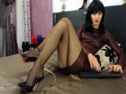 Cuban heel stockings and black stiletto showoff