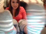 Striped socks busty teen showoff
