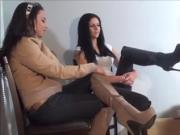Bella and Christina stomp on nude slave