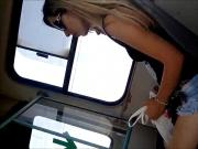 Gladiator sandals hidden camera on a bus