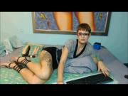 Gladiator sandals and short hair on Webcam