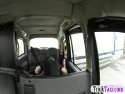 Lady in fancy dress ass fingered and pounded in the cab