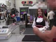 Sexy teen babe gets an unplanned fuck in the pawnshop