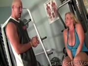Lazy big boobed blonde BBW sexercises with a hung trainer