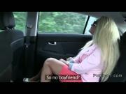 Sexy european blonde fucks in car in public