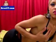 Lingerie latina tugging her dick