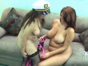 Sexy midget in sailor outfit licks wet brunette's pussy on the sofa