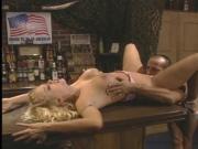 Blonde bartender takes cock on barstool