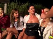 Pissfetish cumswapping eurobabes outdoors