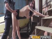 Skinny amateur girl Anna fucked in the ass in the barn yard