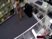 Asian hottie recieves an intense fuck deal in a pawnshop