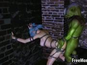 Tied up 3D elf babe getting fucked by a goblin
