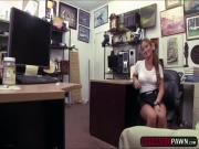 Sexy babe waitress gets an intense fuck offer in a pawnshop