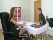Handsome guy fucks female agent