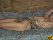 Enslaved Dmitry Osten roped and drained with a slippery cum