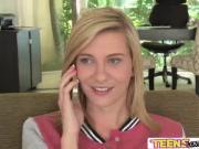 Blonde teen Chloe Brooke masterfully sucks cock in the laundry room