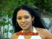 Sexy Domino sucking cock and drinks cum