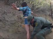 Amateur brunette babe gets screwed by border patrol agent