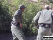 Beautiful Latina babe fucked by black border officer