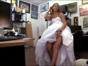 Tight blond babe sells her wedding dress