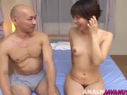 Maho gets shaved Asian pussy and anus licked and toyed