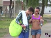 Amateur threesome cum Eveline getting plumbed on camping site