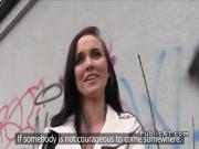 Euro brunette fucks in alleyway