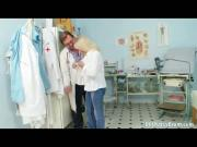 Granny blond Dorota gets her hairy pussy gyno checked