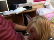 Two college girls share a dick