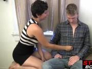 Short haired slut with sexy body sucks two hard dicks