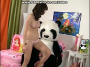 Teen cute girl made a wish of Panda bear