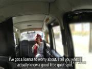 British redhead deep throats in cab