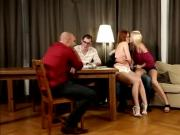 Orgy sex with three hot babes!