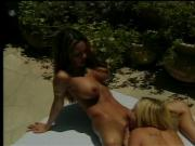 Insatiable lesbian gals suck and fuck their tight bodies under the sun