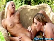 Teen lez rimmed in garden