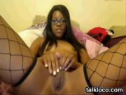 Naughty Ebony Geek Wearing Fishnets