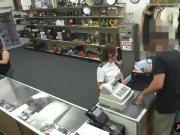 Latina stewardess banged at the pawnshop